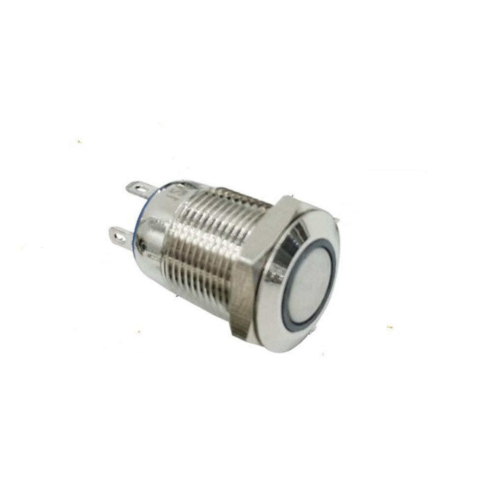 Pinshang 12mm étanche en métal Push Button Switch rond plat à verrouillage en acier inoxydable avec bague de LED Light Shine verrouillage blanc