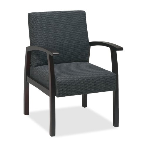Wholesale CASE of 2 - Lorell Deluxe Guest Chairs-Guest Chairs, 24''x25''x35-1/2'', Charcoal/Mahogany frame