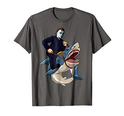 Jason Riding Shark Funny Halloween Graphic T-shirt Costume ()