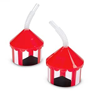 Big Top Plastic Cups with Straw,12 pack