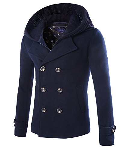 Mens Stylish Fashion Classic Wool Double Breasted Pea Coat with Removable Hood (D116 Navy,L)