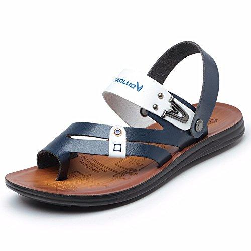 Sommer Das neue Jugend Leder Sandalen Männer Flip Flops Schuh Rutschfest Sommer Trend Strandschuhe Sandalen ,blau,US=6.5?UK=6,EU=39 1/3?CN=39