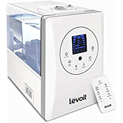 Levoit Humidifiers, 6L Warm and Cool Mist Ultrasonic Humidifier for Bedroom or Baby's Room with Remote and Humidity Monitor, Vaporizer for Large Room, Home, Waterless Auto Shut-off, 2-year Warranty