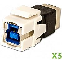 NavePoint USB 3.0 B Female to Female Keystone Adapter White 5-pack