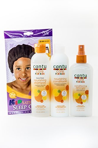 Cantu Care for Kids Tear-Free Shampoo, Conditioner & Detangler TRIO Bundle + FREE Kids Satin Sleep (Tear Free Conditioning Shampoo)