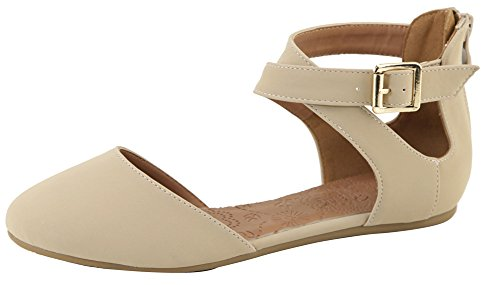 Lovmark Women's Cross Over Ankle Strappy Buckle Closed Toe Ballet Flat (9 B(M) US, Beige)