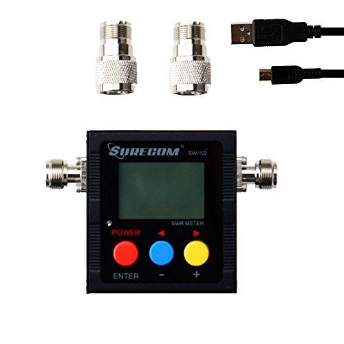 (Mcbazel Surecom SW-102 Digital VHF UHF 125-525Mhz Antenna Power & SWR Meter with Ground Plate)
