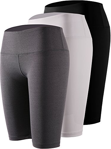 Cadmus Women's 3 Pack Compression Athletic Workout Shorts With Pocket,3 Pack,04,Black,Grey,White,Medium - Womens Spandex Compression Shorts