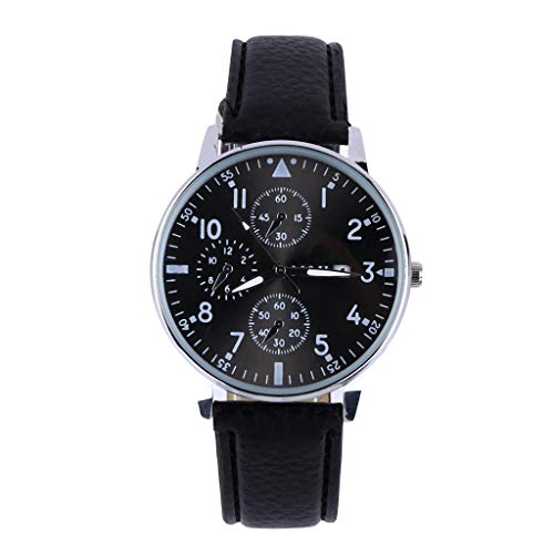 XBKPLO Mens Quartz Watch,Numeral Business Fashion Analog Wrist Automatic Dial Watches Leather Strap
