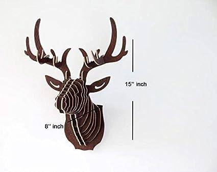 Meida Cardboard Deer Head Wall Sculptures Wooden 3D Puzzle