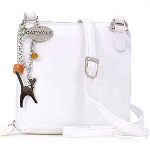 Catwalk Collection Leather Cross-Body Bag - Lena White