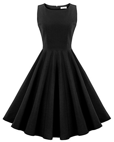 Newdow Retro Dress For Women, Women's Vintage 1950s Cocktail Swing Evening Party Dress 2XL Black