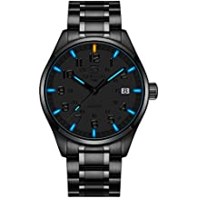 PASOY Mens Luminous Tritium Watch Waterproof Blue light Black Stainless Steel Military Watches 40MM