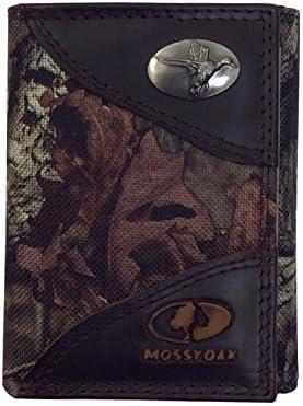 Zeppelin Mossy Oak Cam Trifold Nylon Wallet Leather Trim Mallard Emblem