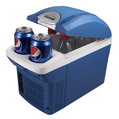 EXCOUP Electric Car Cooler and Warmer with Removable Strap, 8 Liter Mini Cooler for Car, DC 12V Thermoelectric System Portable Cooler for Road Trip, Camping, Picnic, Outdoor Parties