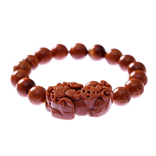 Prime Fengshui Natural Feng Shui 10mm Goldstone Beads Elastic Bracelet with Pi Xiu/Pi Yao Attract Wealth and Good ()