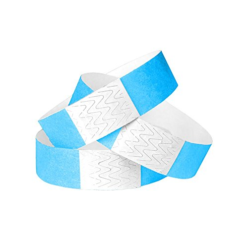 WristCo Neon Blue 3/4 Inch Tyvek Unnumbered 500 Count Paper Wristbands for Events