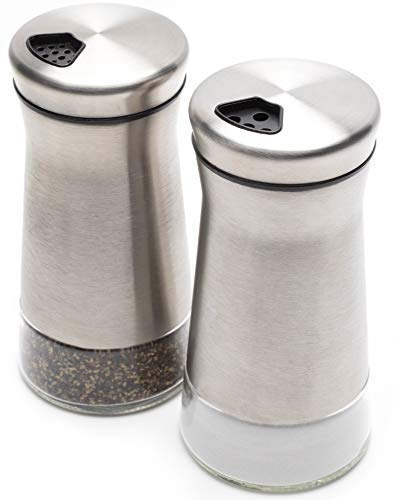 Elegant Salt And Pepper Shakers - Stainless Steel Set Of 2 - Gorgeous Salt And Pepper Dispenser With Adjustable Pour Holes - Perfect For Your Favorite Sea, Kosher And Himalayan Salts by KIBAGA (Image #5)