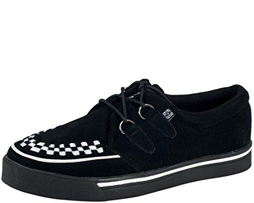 Shoe Skull Skateboard - T.U.K. Unisex Interlace A6293 Creeper Sneaker,Black/White,Men's 6 M/Women's 8 M