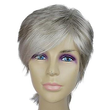 Premium Perucken Liap Matt Perucke Silber Grau Haarfarbe Diagonale