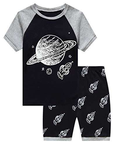 (KikizYe Big Boys Glow in The Dark Space Summer Pajamas Short Sets 100% Cotton Kid 8)