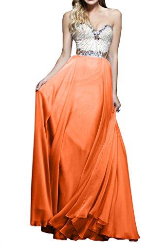 Ausschnitt Damen Linie Herz Promkleid Festkleider Strass A Abendkleid Orange Ivydressing Eqd6wUx6