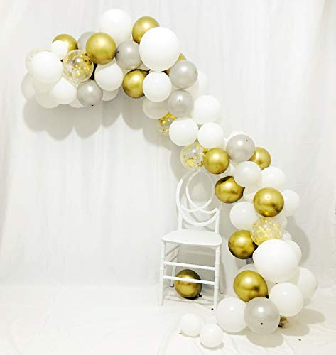 Sorive Balloon Arch & Garland Kit - 80 Pearl White, Chrome Gold, Silver Latex Balloons & Gold Confetti Balloons | Glue Dots | Decorating Strip for Wedding, Baby Shower, Graduation Party Decorations