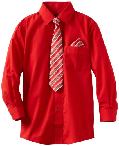 American Exchange Big Boys' Dress Shirt with Tie and Pocket Square, Red, -