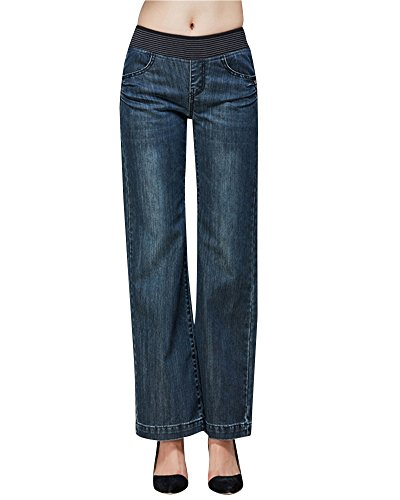 large Jambe Noir Evase Haute Bleu Taille Jeans Mesdames RqwT6pp