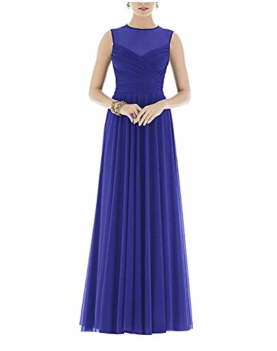 Prom Length Blue Women's Botong Evening Bridesmaid Floor Gown Chiffon Dress Pleaded 0f0EqvCn