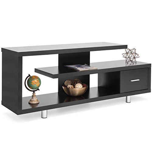 Best Choice Products Living Room Home Entertainment Media Console TV Stand Display w/ 3 Shelves, Sliding Drawer - Black ()
