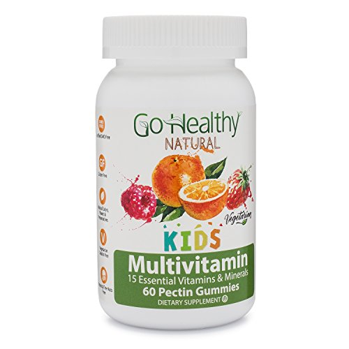 Go Healthy Natural Multivitamin Gummies for Kids, Vegetarian, Non-GMO, Gluten Free, Kosher. Halal 60 ct- 30 Daily Servings