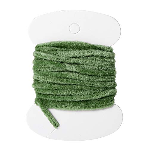 1 Card Nylon Fishing Flies Tying Body Material Fly Tying Tinsel Chenille for Woolly Bugger Worms Rayon Chenille Yarn Fly Fishing Green