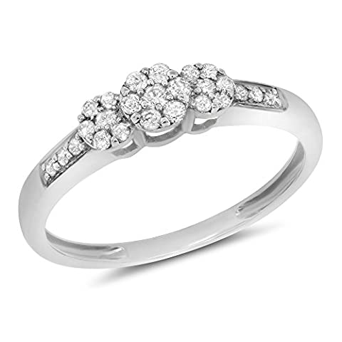 0.21 Carat ctw 10k Gold Round Diamond Ladies Bridal 3 Three Stone Cluster Flower Engagement Promise Ring - White-gold, Size (Promise Ring Size 5 White Gold)