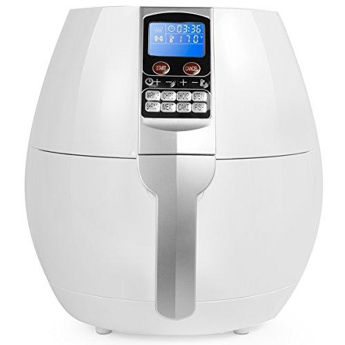 Ensue 3.7 Quart XL Air Fryer Oil-free 1500 Watt Cooker W/ Recipes Book (Control Panel, White) by Ensue
