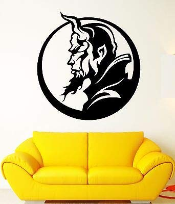 Wall Decal Hell Demon Devil Horns Vampire Profile Darkness Vinyl Decal FF309 ()