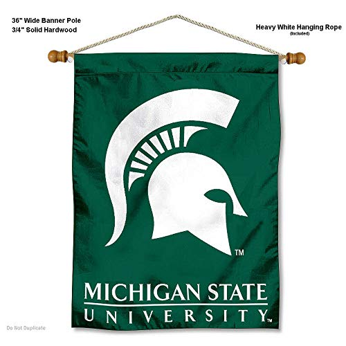 College Flags and Banners Co. Michigan State Spartans Banner with Hanging Pole