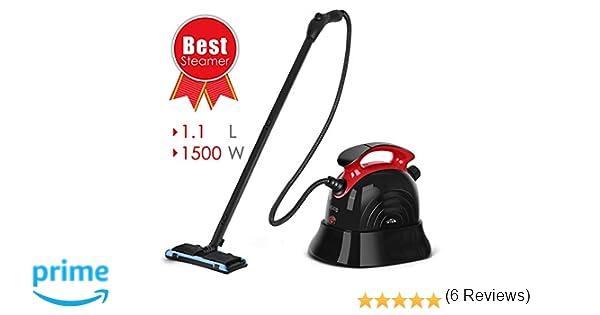 SIMBR Limpiador Vapor Manual Vaporeta Capacidad de 1100ml y Potencia de 1500W, 4.5 Bar, 13 Accesorios para Pisos, Alfombras Y Ventanas