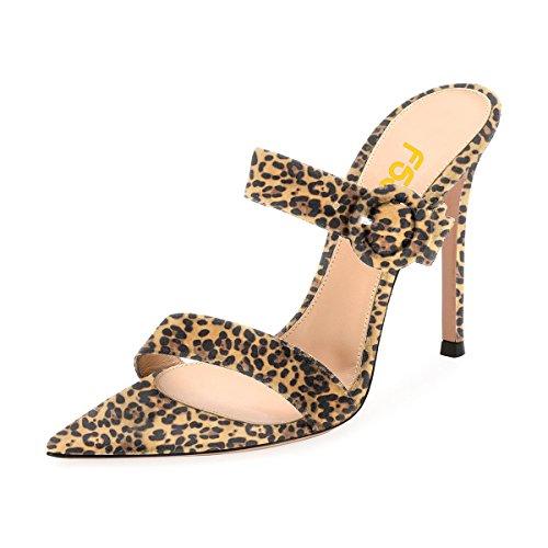 Fsj Kvinder Mode Slip På Muldyr Faux Ruskind Høje Hæle Sandaler Åben Tå Stiletter Sko Str 4-15 Os Leopard fZ8VNjI3