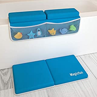 Magicfun Bath Kneeler with Elbow Rest Pad Set, 1.5 inch Thick Kneeling Pad and Elbow Support for Knee & Arm Support Large Bathtub Kneeling Mat with 6 Animal Toys for Happy Baby Bathing Time(Blue)