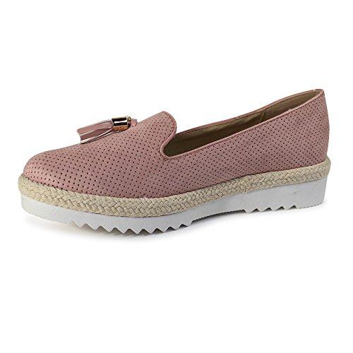 Schuhtraum Damen Slipper Plateau Sneakers Ballerinas Glitzer Nieten ST551 Rosa Quaste