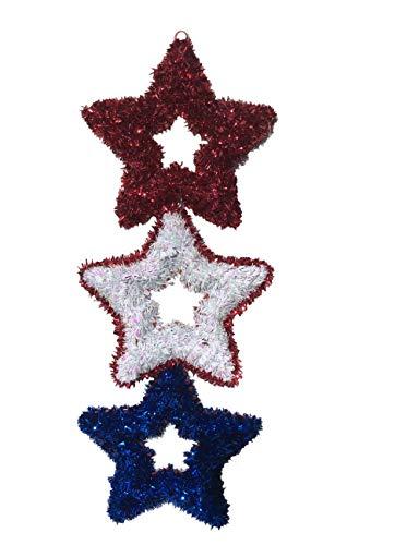 Patriotic Wall Decor Stars, 20.5 inch, Tinsel Bright Colors