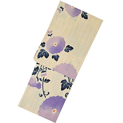 ブランデーましい重大[芸艸堂] 女性 浴衣単品 「ラベンダーブルー 菊花」 荻野一水 注染