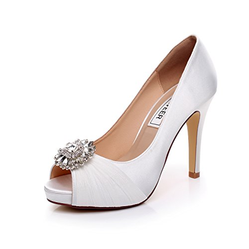 LUXVEER Wedding Shoes Combining Satin Lace and Rhinestone Brooch High Heel 4.5inch-Peep Toe-EUR35