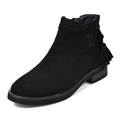 Meeshine Womens Suede Zipper Bootie Casual Comfortable Low Heel Walking Boot Shoes