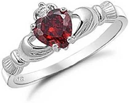 9MM 2ctw Sterling Silver Simulated RUBY RED ROYAL IRISH Claddagh Ring 4-10