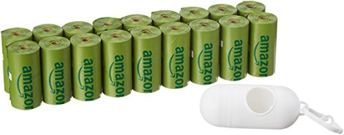 AmazonBasics Enhanced Dog Waste Bag with Dispenser and Leash Clip - 270 Count, Cucumber Scented