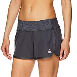 Reebok Women's Running Shorts, Relaxed Fit and Mid-Rise Waist Training Shorts w/ Liner – 3 1/4 Inch Inseam