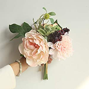 Maikouhai Artificial Flowers, Colorful Bride Bridesmaid Wedding Bouquet Bridal Silk Fake Holding Flowers Party Hydrangea Decor for Home Cafe Hotel Bedroom - 25x29cm (Pink) 42