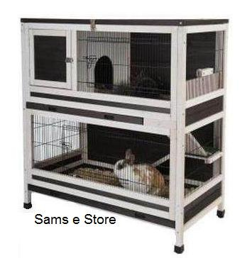 Perfect Small Pet Cage Indoor Lounge 2 Storey Wooden Rabbits Or Guinea Pigs Hutch  Accessible Via Multiple Cage Doors By Sams E Store: Amazon.co.uk: Pet  Supplies
